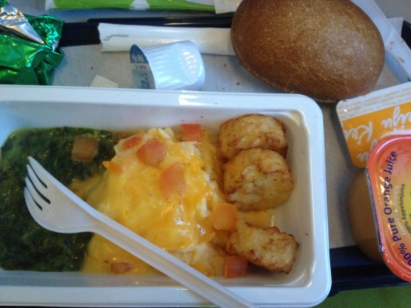 Breakfast in airplane .. not very yummy!