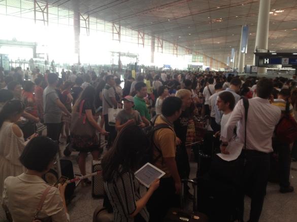 Crowds in Beijing Airport