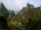 view from the bus to the Tianmen Cave